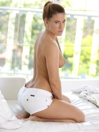 Blonde Beauty Athina In Sexy White Denim Shorts 14