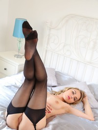 Chloe Toy Looks Hot In Black Stockings And Corset 17