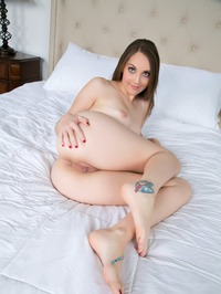 Blue Eyed Cutie Nickey Huntsman Masturbates On A Bed 08