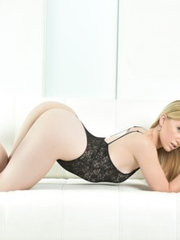 Hot Blonde AJ Applegate In Sexy Black Lace Lingerie 02