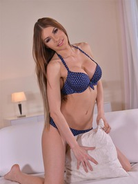 Kitana Lure Strips Off Her Blue Bikini 07