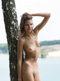 Slim Brunette Sandra Lauver Naked In The Nature 04