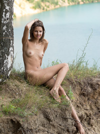 Slim Brunette Sandra Lauver Naked In The Nature 05