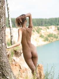 Slim Brunette Sandra Lauver Naked In The Nature 06