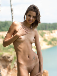 Slim Brunette Sandra Lauver Naked In The Nature 07