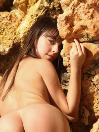 Brunette Cutie Lorena Garcia Behind Rocks 09