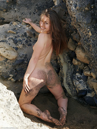 Lorena Naked Behind Rocks 17