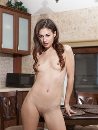 Sexy Brunette Beauty Lilian Naked In The Kitchen 01