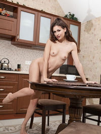 Sexy Brunette Beauty Lilian Naked In The Kitchen 08