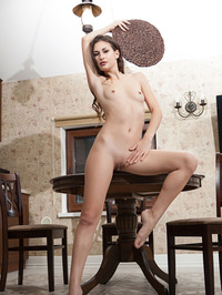 Sexy Brunette Beauty Lilian Naked In The Kitchen 14