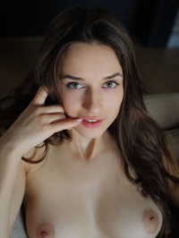 Amazing Brunette Teen Gloria Sol Spreading On The Couch 03