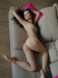 Amazing Brunette Teen Gloria Sol Spreading On The Couch 13