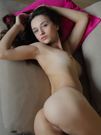 Amazing Brunette Teen Gloria Sol Spreading On The Couch 14