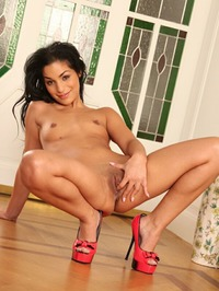 Nancy Strokes Shows Shaved Pussy 13