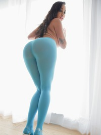 Karlee Grey In Sexy Blue Pantyhose 06