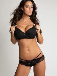 Attractive Busty Brunette In Black Lingerie 01