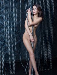Evita Lima Naked Behind Beads Curtain 02