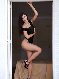 Posing in black high heels 01