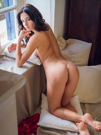 beautiful brunette Sultana looks super sexy in her red, lacy nightwear 12