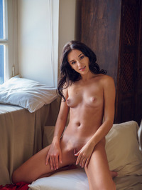 beautiful brunette Sultana looks super sexy in her red, lacy nightwear 13