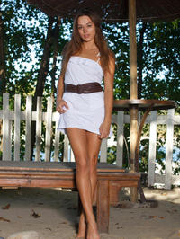 Cute Brunette Dominika A Strips Off Her White Summer Dress 03