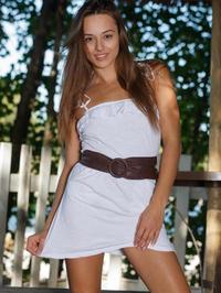 Cute Brunette Dominika A Strips Off Her White Summer Dress 07