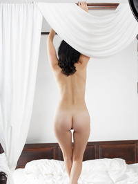 Raven Haired Beauty Malena Nude In Her Bed 04
