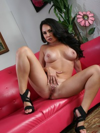Sexy Mature Mabe Holly West Strips On A Red Sofa 13