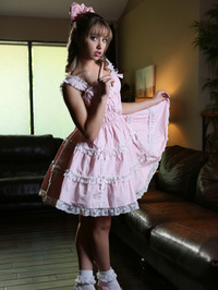 Tiny Blonde Aurora Belle Strips Off Her Cute Pink Dress 00