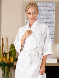 Sexy Blonde Lyra Law Slips Out Of Her White Robe 00