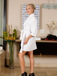 Sexy Blonde Lyra Law Slips Out Of Her White Robe 01