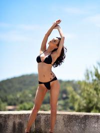 Jennifer Ann In Black Bikini Posing Outdoor 09