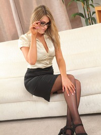 Busty Blonde Lola Teases In Stockings 00
