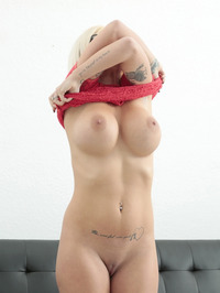 Sara St Clair Big Fake Boobed Blonde MILF Strips 07
