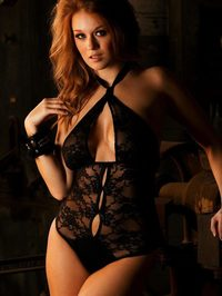 Leanna Decker In Black Lingerie 00