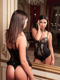 Milica In Black Lingerie And Stockings 00