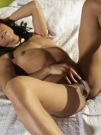 Hot Ebony Girl Kira Noirteasing On A Bed 13