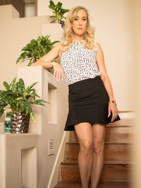 Busty Blonde MILF Brandi Love Strips On The Stairs 01