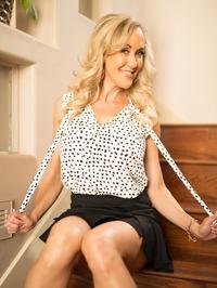 Busty Blonde MILF Brandi Love Strips On The Stairs 02