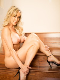 Busty Blonde MILF Brandi Love Strips On The Stairs 11