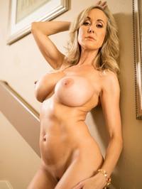 Busty Blonde MILF Brandi Love Strips On The Stairs 15