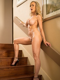 Busty Blonde MILF Brandi Love Strips On The Stairs 16