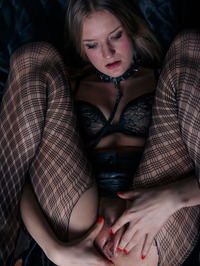 Bree Haze Fingers In Ripped Fishnet Stockings 06