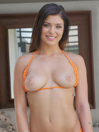 Flexible Brunette Leah Gotti Strips And Spreads 01