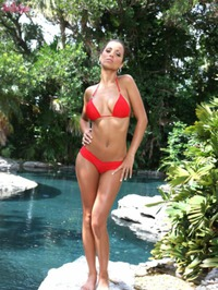 Janessa Brazil Red Bikini Strip 00