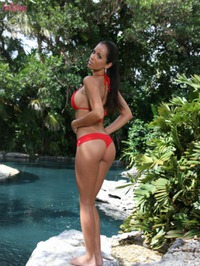 Janessa Brazil Red Bikini Strip 01