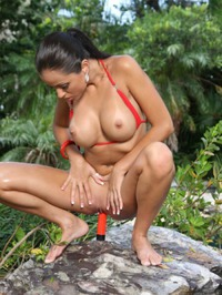Janessa Brazil Red Bikini Strip 09
