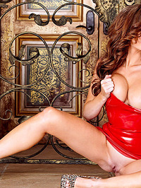Emily Addison Red Latex Dress 08