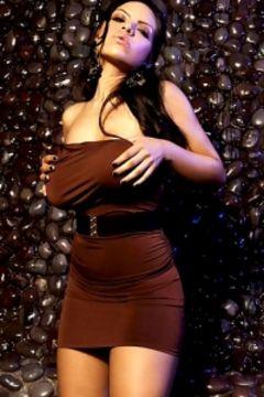 Yurizan Beltran brown dress