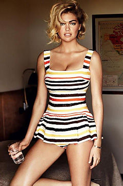 Check out glamour blonde Kate Upton dressed in various designer clothes and posing teasingly.